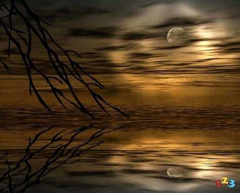 Måne over sø