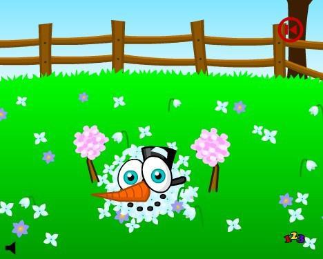 Snowman in spring