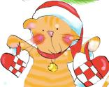 Kat med julehjerter